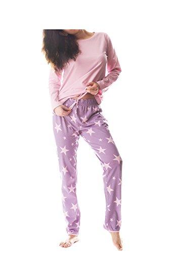 Damen Pyjama Schlafanzug Baumwolle Langarm SUN4 40/42