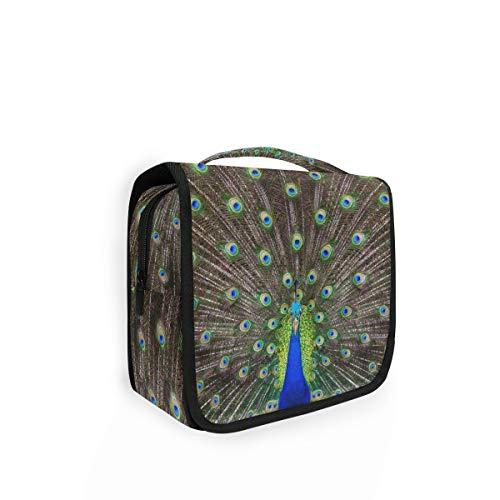XIXIKO - Bolsa de aseo para colgar con plumas de pavo real, bolsa de viaje, organizador plegable, para maquillaje, para mujeres, niñas, señora