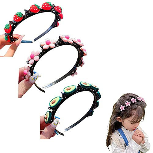Cartoon Headbands Plait Hair Tools Toddler Headbands with Clips, Hairpin for Girl 2021 New Sweet Princess Hairstyle Hairpin for Fixed Bangs and Broken Hair (3pcs)