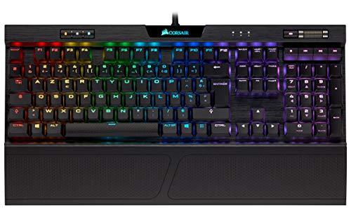 Corsair K70 RGB MK.2 Low Profile Rapidfire Clavier Mécanique Gaming (Cherry MX Speed: Rapide et très précis, Rétro-Éclairage RGB Multicolore, AZERTY FR Layout) - Noir