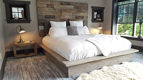 Visit the Grey weathered modern industrial reclaimed recycled wood wall mount headboard art on Amazon.