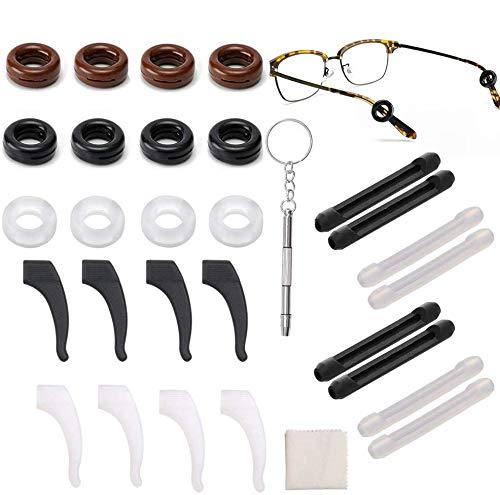 14 Paar Silikon Antirutsch Gläser Ohrhaken Komfort Brillenbügel Tipp Ohrbügel Halter Ring Elastische Brillen Ohr Pads Überzüge Brillenhalter Weiche für Sportbrillen Sonnenbrille Lesebrillen Zubehör