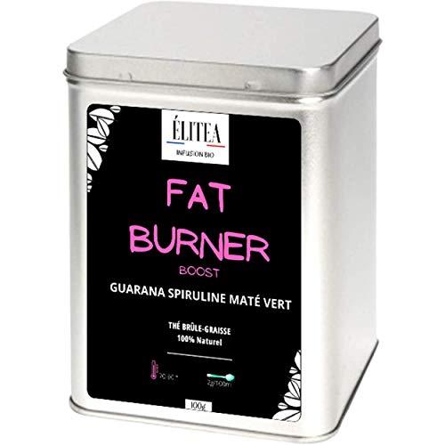 Thé Infusion Fat Burner Booster + Un cuillère à thé Energie Brûle Graisse Spiruline Guarana Maté Matcha Tisane 100% Vegan Coupe faim Détox Puissant Antioxydant Élitea Brûle graisse Amincissant