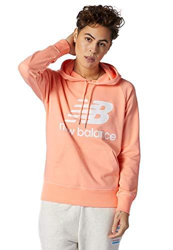 New Balance Damen Hoodie Essentials Pullover Hoodie WT03550 PPI Orange, Größe:M