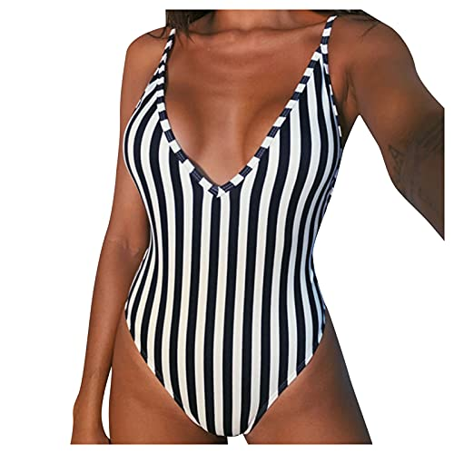 YANFANG Traje De BañO Una Pieza Cintura Alta con Estampado Honda para Mujer,Bikini Sexy Mujer, Push Up, Monokini Alta,Sexy BañAdor Conjunto Bikini Up Biquini Sujetador Acolchado,2-Blanco,XL