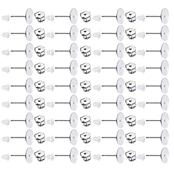 200 PCS 925 Sterling Silver Earrings Posts Flat Pad Hypoallergenic Earring Posts and Backs Earring Studs Blanks for Jewelry Making Findings 8MM
