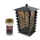 Farol para tumba de acero con cristal parsol y rejillas, incluye vela LED de 21 cm...