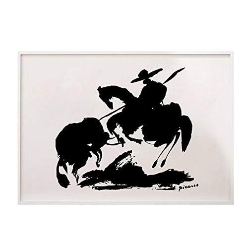 HNZKly Art Künstler Pablo Picasso Minimalistische Leinwandbilder Picasso Bild Schwarz Weiß Spanisch Stierkämpfer Poster Kunstdrucke Schlafzimmer Hotel Büro Dekor 40x60cm / Unframed-2