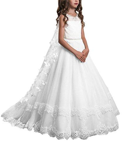 PLwedding Lace Flower Girls Dresses Girls First Communion Dress Princess Wedding (Size 8, Ivory)