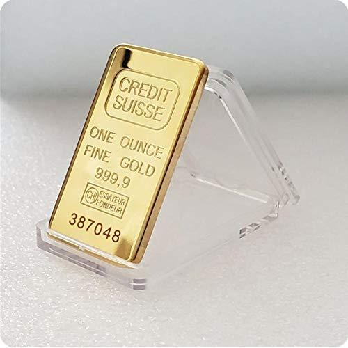 XCDJF Replica 24 Karat vergoldete kreditgeschichtete Goldbarren Schweizer Kreditgoldbarren Moderne Kunst Gedenkmünzensammlung Produktgröße: 50 * 28MM