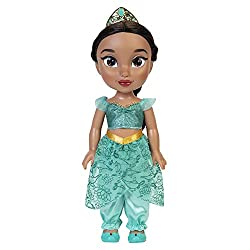 Jasmine has shimmery glitter eyes and her signature long flowing hair to style This gorgeous Princess is approximately 14 inches tall Includes doll, removable dress, shoes Tiara Recommended for ages 3+