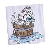 SLB Works Brand New Waterproof Polyester Dog Bathing Print Shower Curtain Sheer Panel