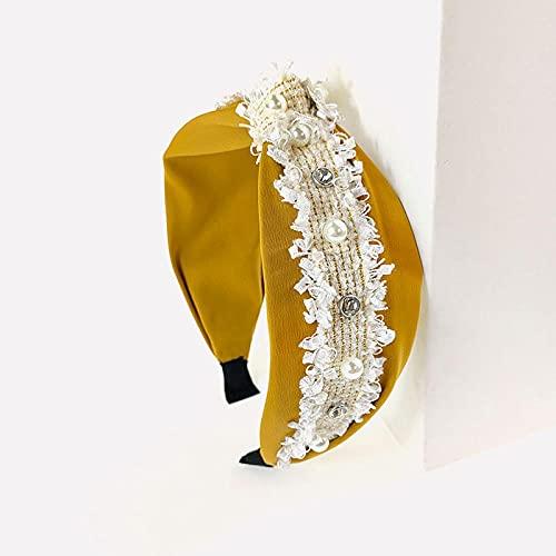 XINDUO Diadema para Mujer Turbante Bohemia,Elegante Diadema de Perla de Lado Ancho de Tela-Amarillo,Boho Diademas para Mujeres