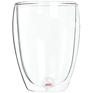 Bodum PAVINA Coffee Mug, Double-Wall Insulated Glass Mug, Clear, 12 Ounces Each (Pack of 6)