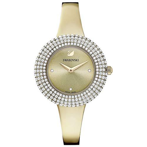 SWAROVSKI Reloj de cristal auténtico, correa de metal, tono dorado champán, reloj elegante hecho en Suiza y piedra brillante acentuada colección de joyería de moda para uso diario