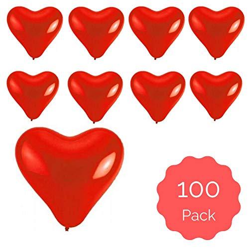 100 x rote Herzballons, groß Ø 30 cm, perfekte Deko für den Valentinstag und Heiratsantrag,Herz Luftballons für Luft und Helium