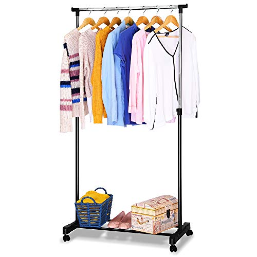 EVELYN LIVING Heavy Duty Garment Rack on Wheels Adjustable Tidy Clothes Rail Hanger Drying Coat Hanging Mobile Storage Clothing Stand (Single)