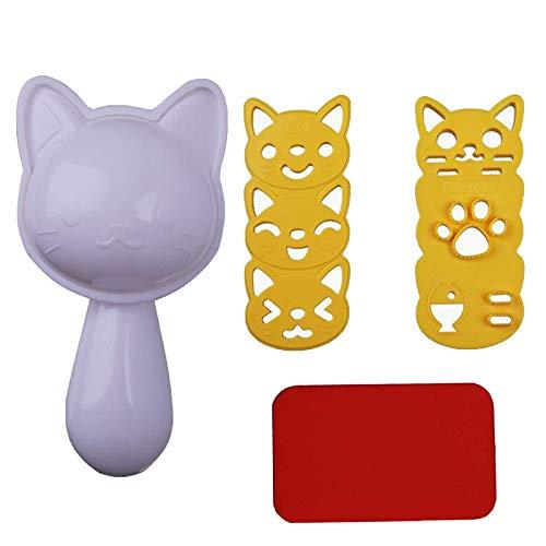 Set Reisball-Formen, Onigiri Maker Mould, Katze Form Reisform, Kleine Reis-Ball-Form-Gesetzte, Geeignet für Diy Küchengeräte für Reis, Sushi, Schokolade, Sandwiches