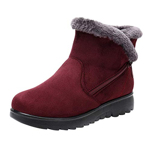 Yowablo Winterstiefel Damen Winter Knöchel Kurze Schneeschuhe Pelz Schuhe Warme Schuhe (36 EU,1- Wein)