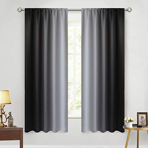 Yakamok Ombre Curtains for Bedroom, Room Darkening Gradient Color Curtains, Thermal Insulated Rod Pocket Light Blocking Window Drapes for Living Room(Black and Greyish White, 2 Panels,52W x 63L Inch)
