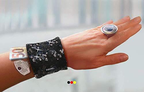 Armreif Safe Pailletten silber weiß schwarz Glitzer Geldbörse Reißverschluss Handgelenk Tasche Festivaltasche Tanztasche Festival Konzert zu Samba Kostüm originelle Geschenkidee Geschenk Damen