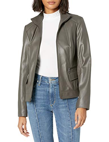 Cole Haan Women's Wing Collar Jacket, Dove, Large