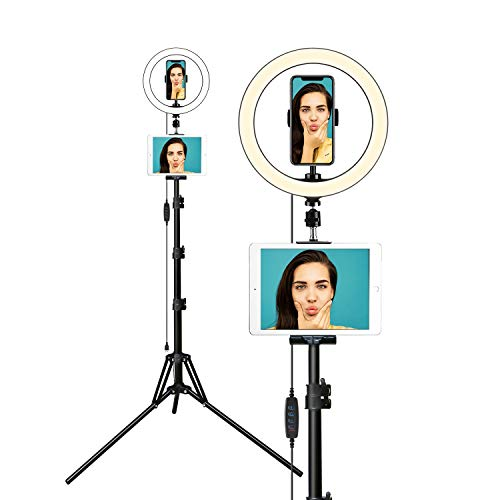 Elitehood 12'' Ring Light with Phone Tripod Stand – Dimmable LED Camera Ringlight for Selfie/Video Recording/Live Streaming/YouTube, Included Tablet Holder Stand for iPad iPhone & Android Cell Phones