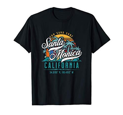 Retro Santa Monica California Sun Sand Surf Beach Palm Trees Maglietta