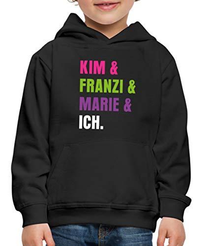 Spreadshirt Die DREI !!! (Ausrufezeichen) Kim & Franzi & Marie & Ich Kinder Premium Hoodie, 134-146, Schwarz