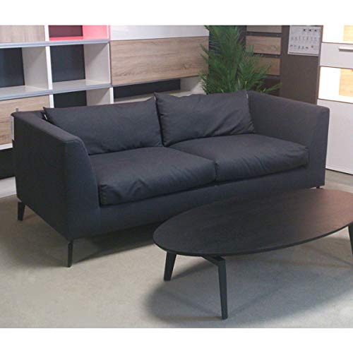Möbel Akut Sofa Freistil 165 ROLF Benz Moderne Sofabank schwarz-grau 204 cm 3 Sitzer