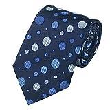 Jason&Vogue Designer Krawatte in mitternachtsblaublau creme gepunktet