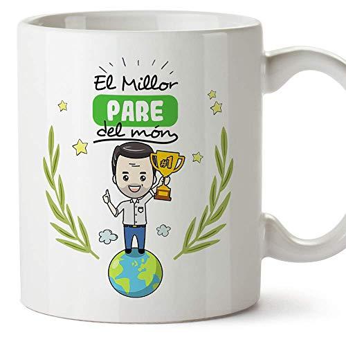MUGFFINS Taza Padre (En Catalán)'El Millor Pare del Món' Taza Desayuno/Idea Regalo Día del Padre. Cerámica 350 mL