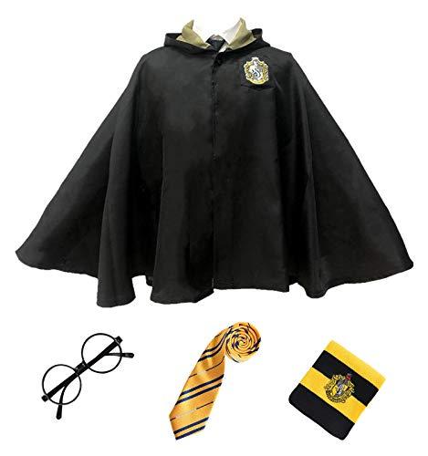 Monissy Unisex Kurzer Umhang Harry Kostüm Umhang mit Kapuze Kinder Erwachsene Zauberlehrling Karneval Verkleidung Set aus Krawatte Schal Brille Zauberstab für Fasching Halloween Schwarz