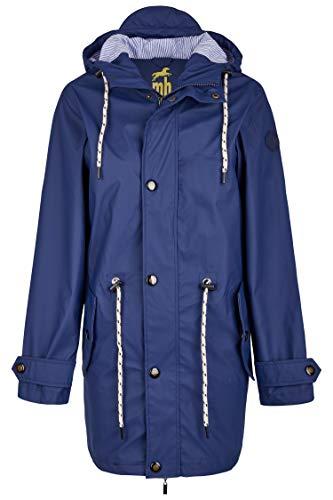 Michael Heinen Regenjacke Damen lang Regenjackel Wasserdicht - Friesennerz Blau XL - Outdoor Jacke Parka Winddicht