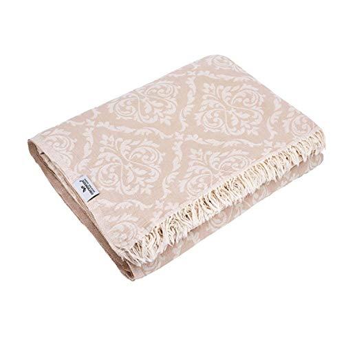 Carenesse Tagesdecke King Size BAROCK beige, 260 x 260 cm, 100% Baumwolle, leichte dünne beidseitig schöne Decke mit kurzen Fransen, Überwurf für Bett Sofa und Couch, Tischdecke, Dekodecke