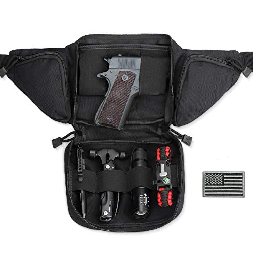 LIVANS Concealed Carry Fanny Pack Holster, Tactical Conceal Carry Pistol Bag Mens Gun Carry Concealment Holster Fits 1911 and G 17,19,20,21 Fits up 55' in Waist Free U.S Flag Patch