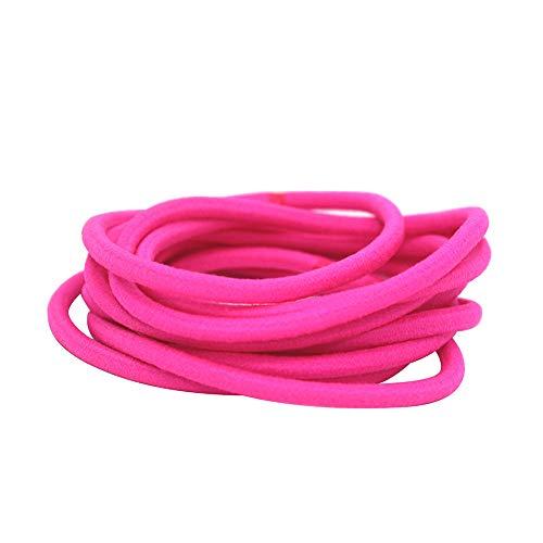 Frcolor Cravates pour cheveux Corde, bandes en caoutchouc en nylon Supports en élasticité pour chat adultes, paquet de 50 (Rosy)