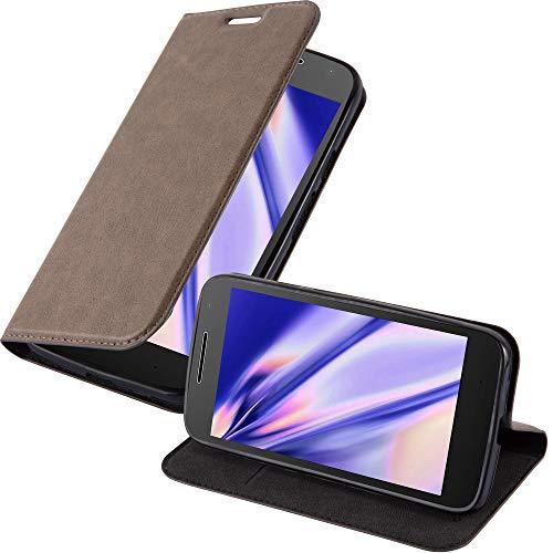 Cadorabo Hülle für Motorola Moto G4 Play in Kaffee BRAUN - Handyhülle mit Magnetverschluss, Standfunktion & Kartenfach - Hülle Cover Schutzhülle Etui Tasche Book Klapp Style