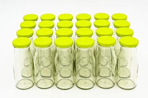 24 Leere Flaschen, kleine Glasflaschen 150 ml weiß TO43 mit hellgrünem Verschluss. Kleine Flaschen zum Befüllen von Milchflaschen, Saftflaschen, Schnapsflaschen klein oder als Vasen Deko benutzbar