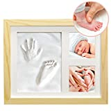 "Clay Hand/Footprint Photo Frame for Babies, Kids, and Pets – Includes 9"" x 11"" Natural Wood Colored MDF Photo Frame, Roller, Mounting Hardware, and Instructions -'Pose'ies"