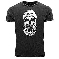 Neverless - Camiseta para hombre, diseño de calavera, estilo vintage, corte ajustado