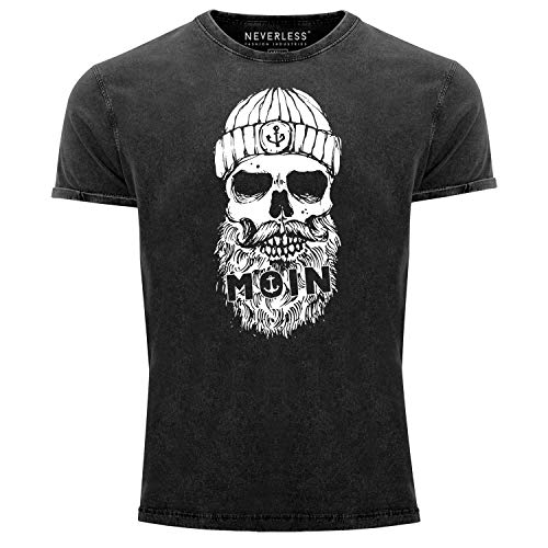 Neverless® Herren Vintage Shirt Moin Totenkopf Anker Skull Printshirt T-Shirt Aufdruck Used Look Slim Fit schwarz XL