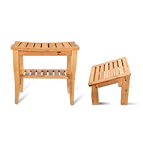 ToiletTree Products Deluxe Wooden Bamboo Shower Seat Bench with Underneath Storage Shelf (Seat with...
