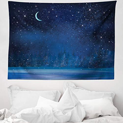 ABAKUHAUS Luna Tapiz de Pared y Cubrecama Suave, Invierno Místico Lugar Mágico Cielo Estrellado Noche Oscura Paisaje Bosque Encantado, Decoración para el Cuarto, 150 x 110 cm, Azul Oscuro