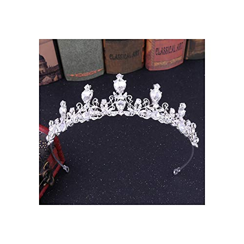 Corone da sposa vintage con strass in oro e perla con fiore fatto a mano e diadema in cristallo, argento bianco