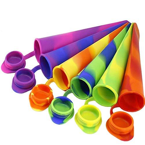Joyoldelf 6 Stück Silikon Eis am Stiel Eislutscher Formen,Ice Pop Maker Formen Set - 100{caf5fa33b84869fc3540a3bb18283d624eb57854a027f008c0d7f9760337181d} Lebensmittel Silikon- BPA frei