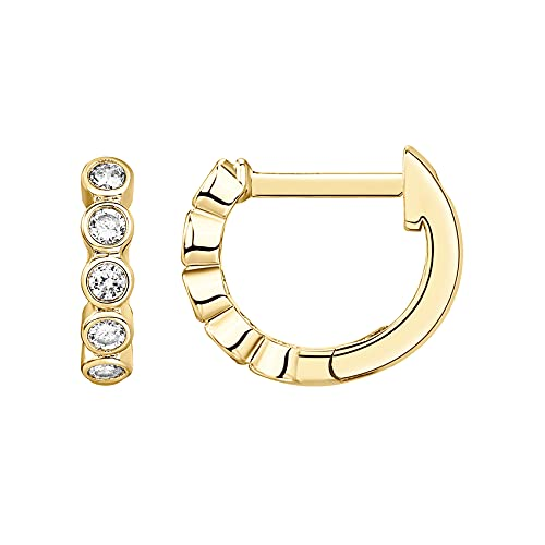 PAVOI 14K Yellow Gold Plated Sterling Silver Post 1.75mm Cubic Zirconia Cuff Earrings Huggie Stud