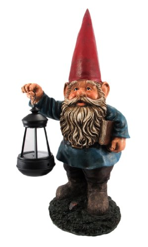 Garden Gnome Holding Lantern Statue LED Light