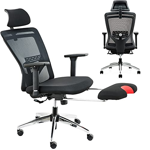 ZUERST Ergonomic Office Chair with Footrest Support- Adjustable Mesh Office Chair with Lumbar Support, 3D Armrest and Flip-Up Headrest, High Resilience Cushion, Rocking Computer Chair for Home Office