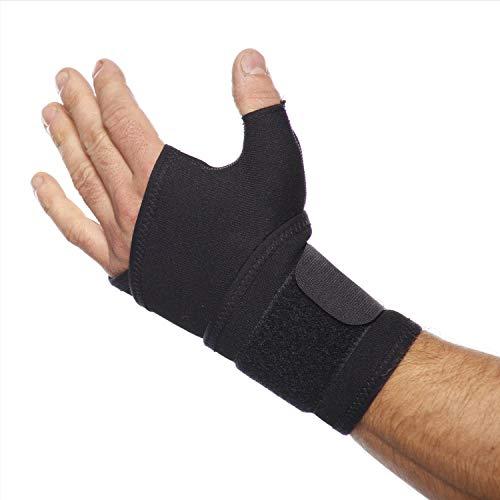 TURBO Med Handgelenkbandage mit Daumenstabilisation bei Überlastung, Verletzung in Daumengrundgelenk + Daumensattelgelenk, Sehnenscheidenentzündung, Arthrose SCHWARZ TM855-9